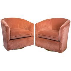 Milo Baughman Salmon Velvet Swivel Chairs with Gold Bases