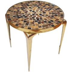 1950s Italian Mid-Century Modern Brass and Mosaic/Tile Top Small Cocktail Table