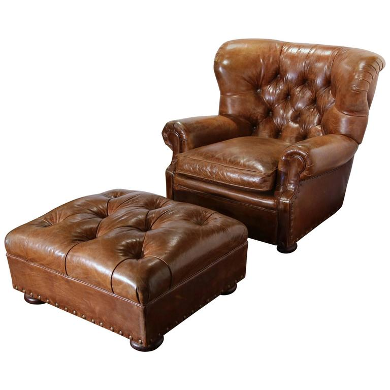 Merveilleux Large Vintage Ralph Lauren Brown Leather Armchair With Matching Ottoman For  Sale