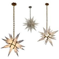 Group of Three Rock Crystal Quartz Star Chandeliers