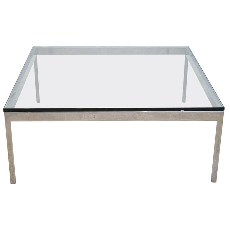Artimeta Attributed Square Metal And Glass Coffee Table At: Chrome-Plated Steel And Glass Square Coffee Table At 1stdibs