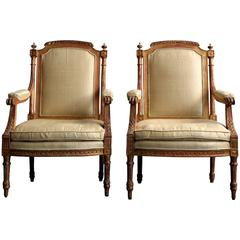 Pair of Louis XVI Giltwood Upholstered Fauteuils