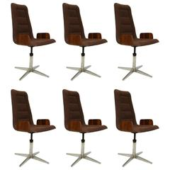 Set of Six Dining Chairs Sculptural Bent Walnut Plywood