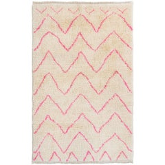 Contemporary Moroccan Wool Rug in Pink and Cream Colors
