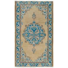Vintage Turkish Oushak Rug in Beige, Cream and Blue Colors