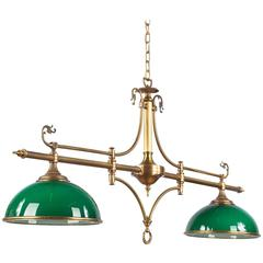Mid-Century French Brass and Opaline Glass Billiard Chandelier