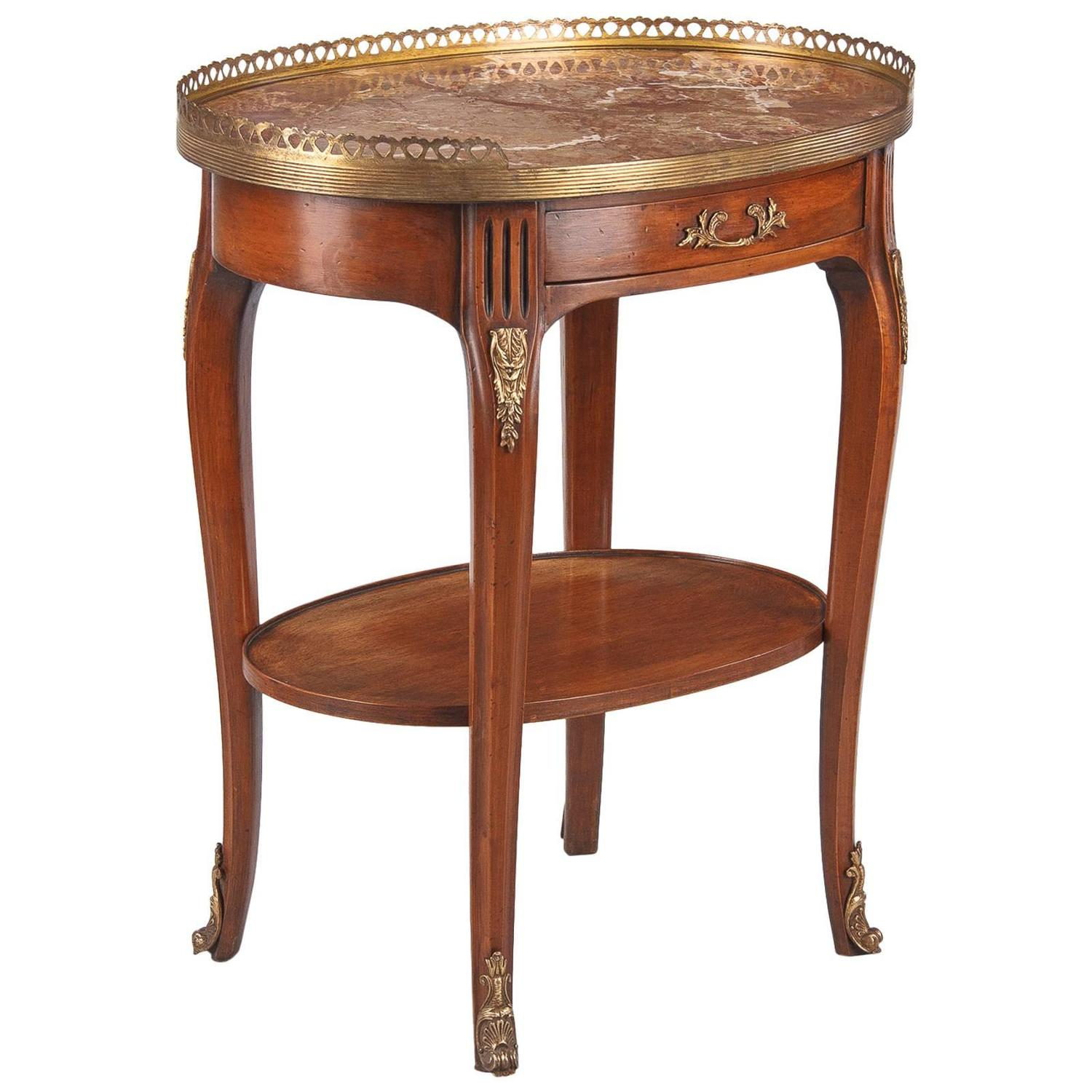 Louis XV Louis XVI Style Oval Marble Top Side Table 1920s at 1stdibs