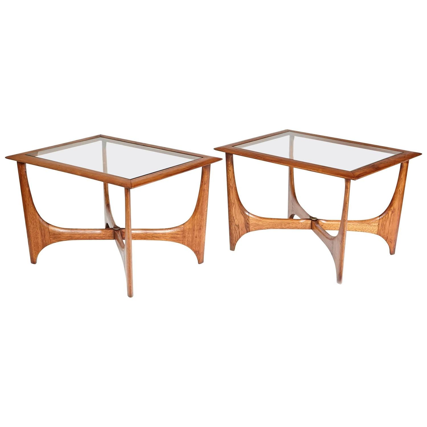 1960s Sculpted Walnut And Glass Top Lane Furniture Side