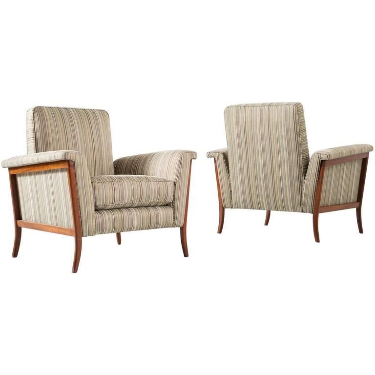 Pair of Brazilian Lounge Chairs in Mahogany