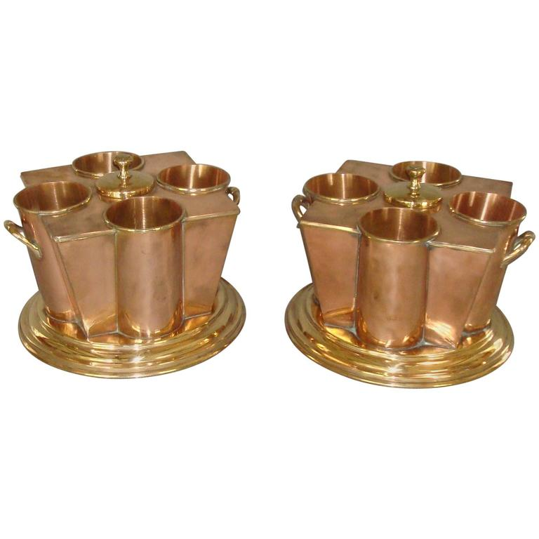 Early 20th Century Pair of Copper and Brass Champagne Coolers