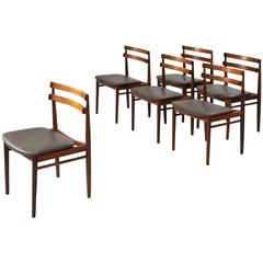 Set of Six Reupholstered Danish Dining Chairs in Rosewood