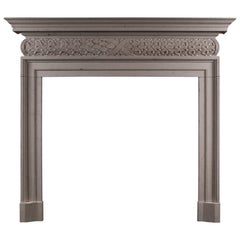 Mid-18th Century Style Antiqued Limestone Fireplace