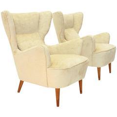 Italian Velvet Wingback Armchairs, Set of Two