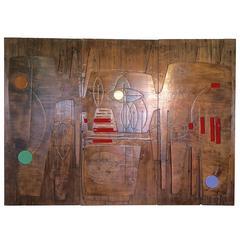 Three Victor Cerrato Sculptured Wood Panels