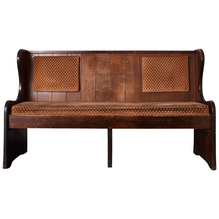 Quarter Sawn Oak Upholstered Pew 1