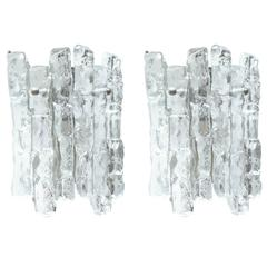 Pair of Kalmar Ice Glass Sconces