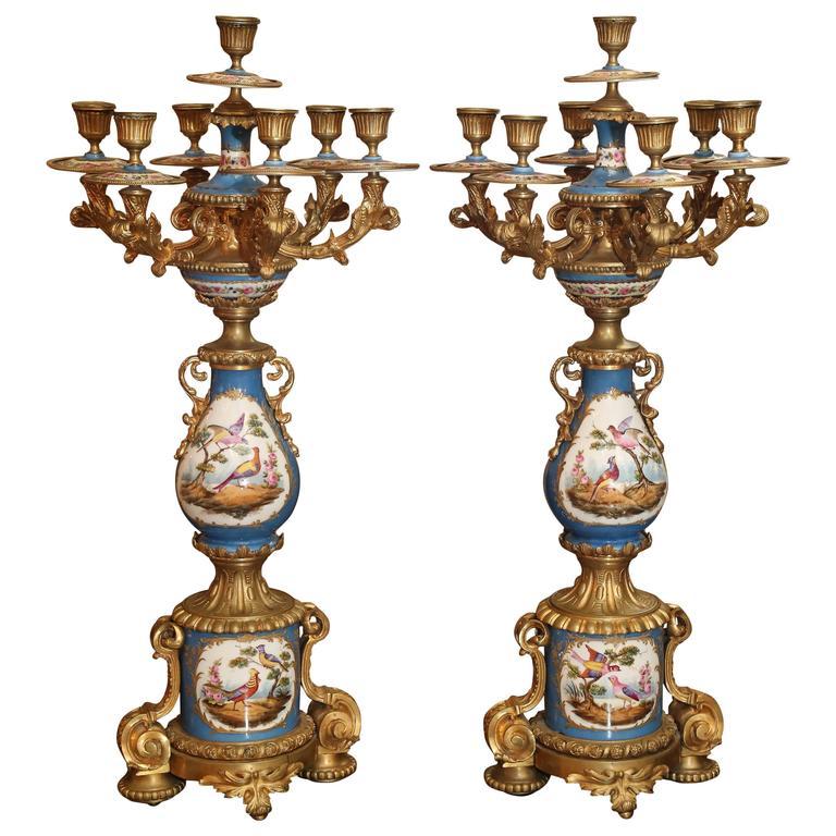 Pair of Sevres Porcelain and Bronze Dore Candelabra in Celeste Blue