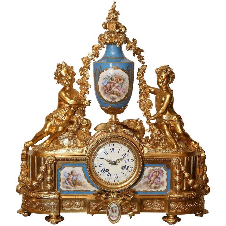 French Bronze Doré Clock with Sevres Porcelain in Celeste Blue