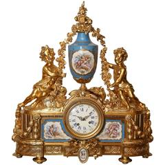 French Bronze Doré Clock with Sevres Porcelain in Celeste Blue
