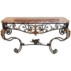 French Forged Iron Console, 19th Century with Marble Top