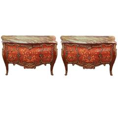 Pair of French Commodes with Marquetry Inlay and Marble Top