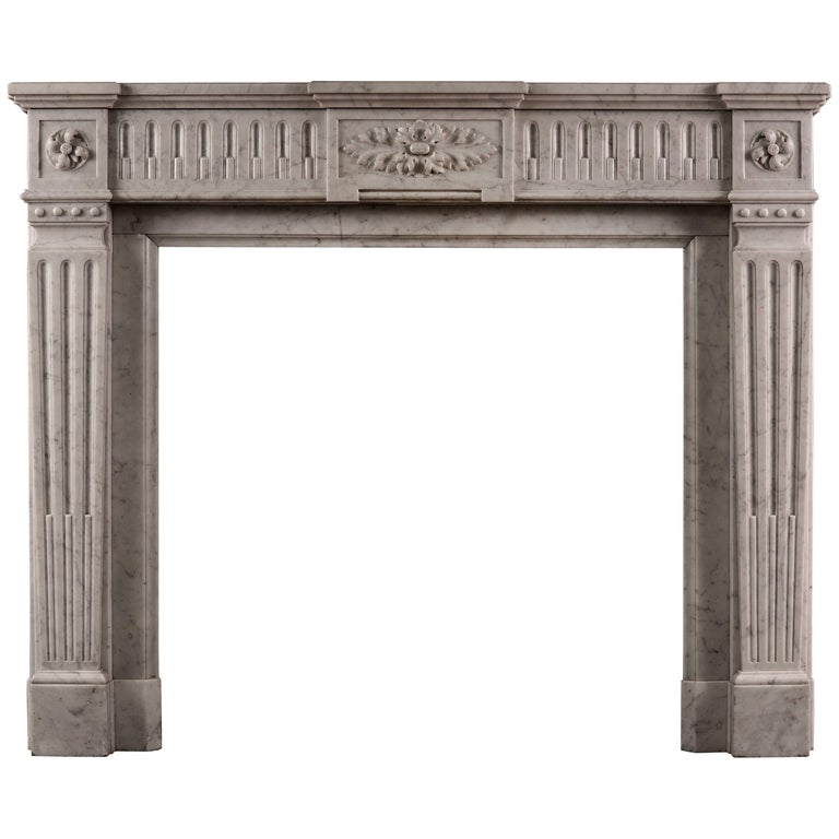 Carrara Marble French Fireplace in the Louis XVI Style