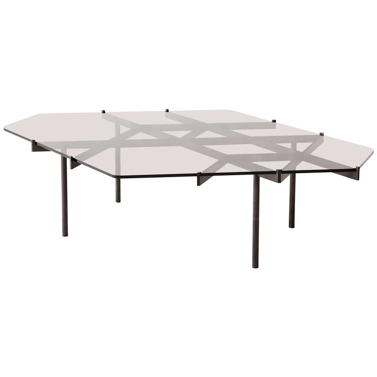 Lawson Coffee Table, Bronze Glass and Blackened Stainless Steel 1