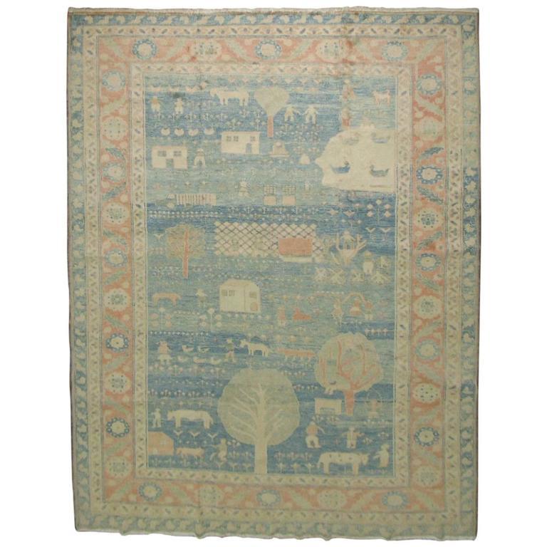 Vintage Turkish Pictorial Carpet
