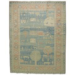 Vintage Turkish Pictorial Carpet