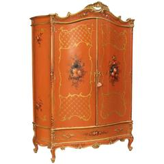 20th Century Venetian Lacquered and Gilded Wardrobe