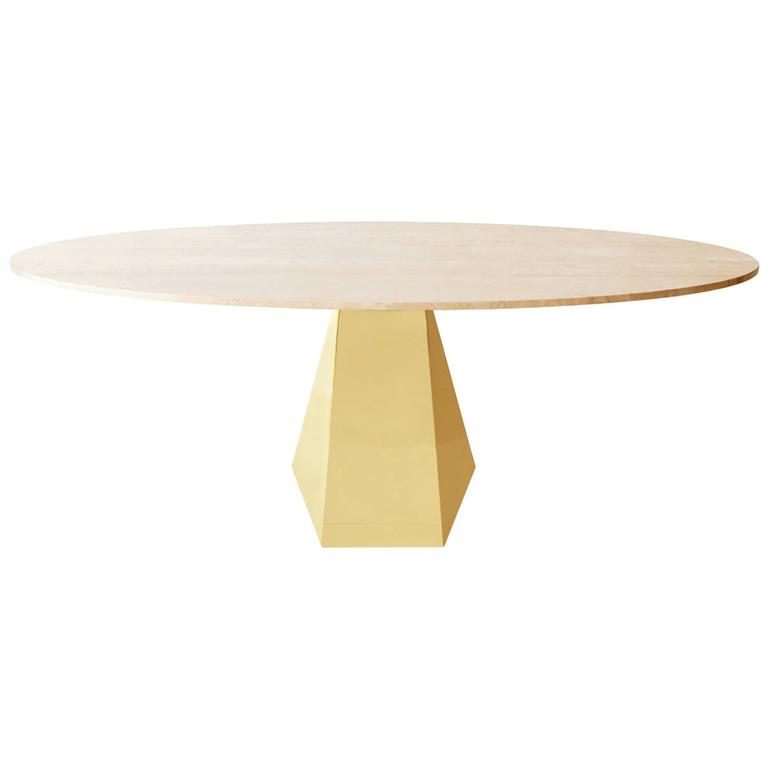 Oscar Dining Table, Brass and Stone For Sale