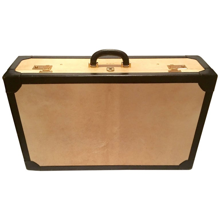 Vintage Italian Vellum and Leather Suitcase Made for Barney's New York