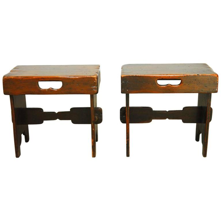 Pair Of Small French Country Bench Seats At 1stdibs