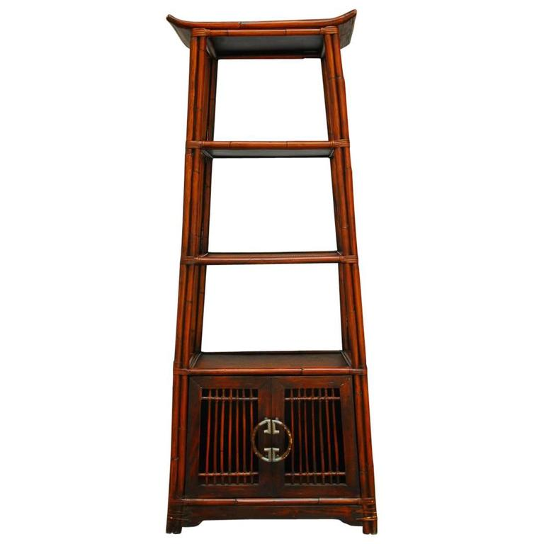 three tier bamboo pagoda etagere for sale at 1stdibs. Black Bedroom Furniture Sets. Home Design Ideas