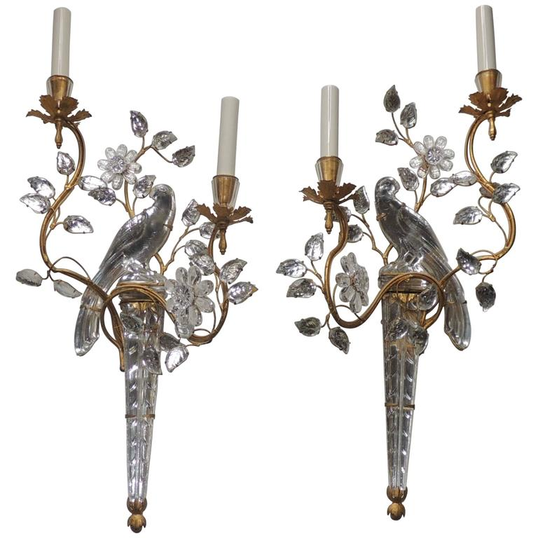 Crystal Bird Wall Sconces : Wonderful Vintage Pair Of Gilt and Rock Crystal Bagues Flower Bird Parrot Sconces at 1stdibs