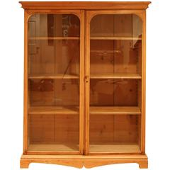 Pine Cabinet with Glass Doors and Adjustable Shelves