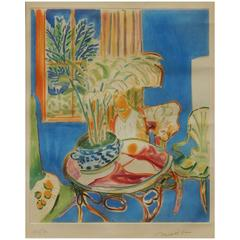 Henri Matisse Pencil Signed Aquatint, Petit Interieur Bleu
