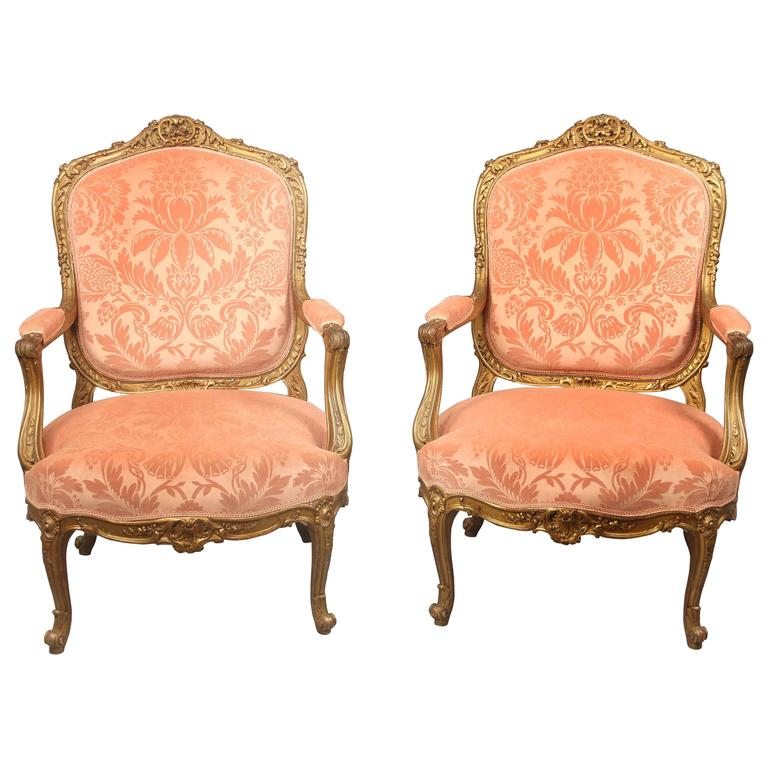 Exquisite Pair of Late 19th Century Louis XV Style Giltwood Armchairs