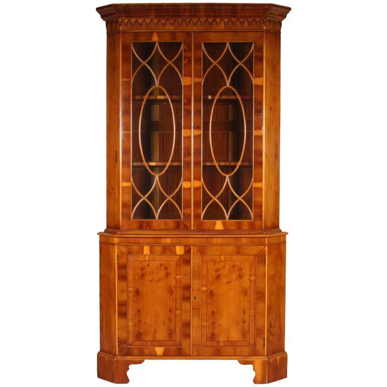 Yew Wood Corner Cabinet At 1stdibs