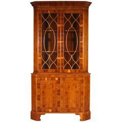 Yew Wood Corner Cabinet