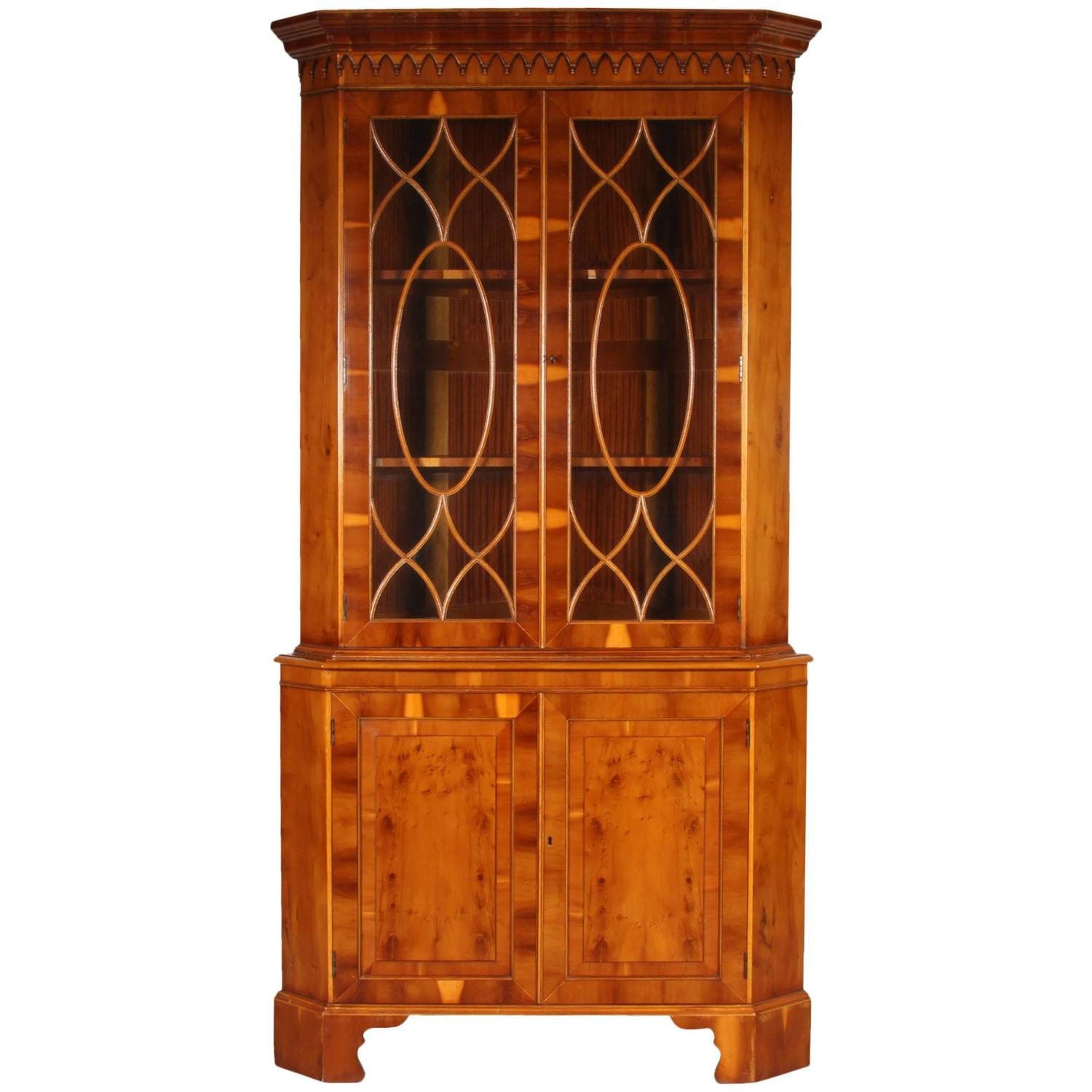 Yew Wood Corner Cabinet For Sale At 1stdibs