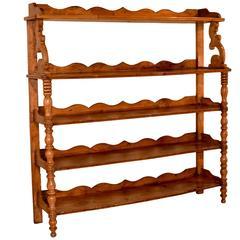 19th Century English Elm Standing Shelf
