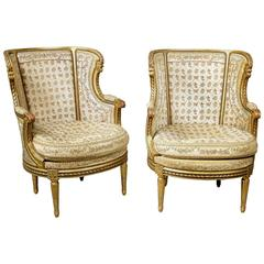 Very Fine Pair of Late 19th Century Louis XVI Style Giltwood Bergeres