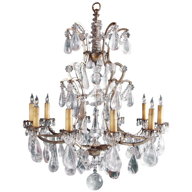 19th Century Rock Crystal Chandelier Surface Wired For