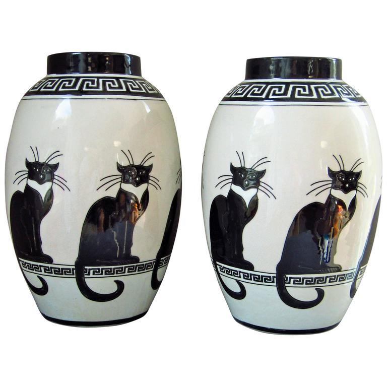 Mid Century Pair Of Vases Ceramic 1960s Cat Decor By Keralouve For