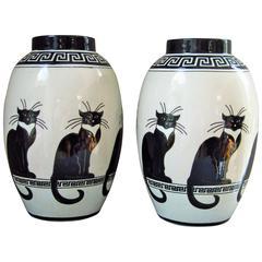 Mid-Century Pair of Vases Ceramic 1960s Cat Decor by Keralouve