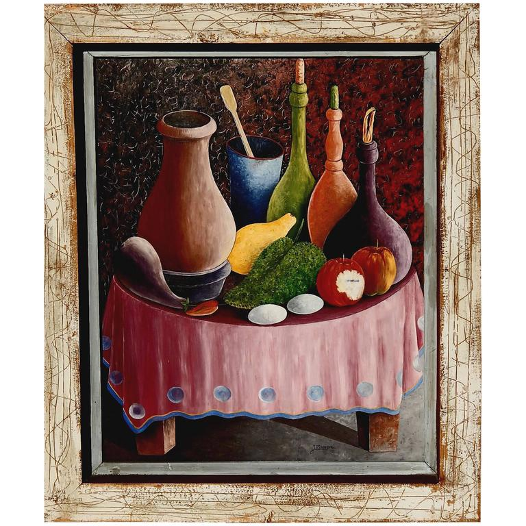 Haitian Painter Jacques Gourgue Oil on Board, Surreal Still Life