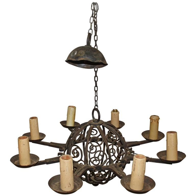 19th Century French Iron Chandelier