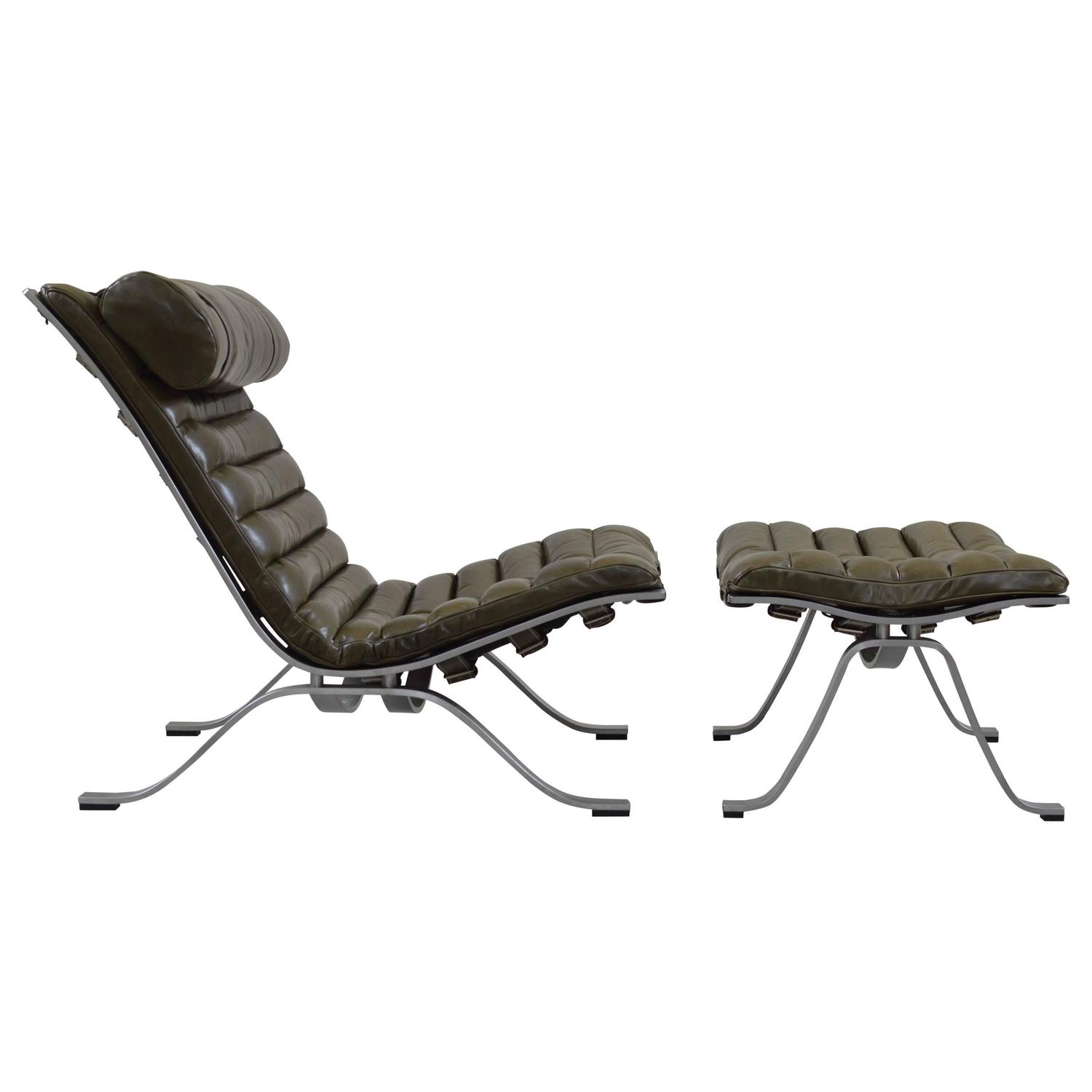 Green Leather Ari Lounge Chair By Arne Norell For Sale At