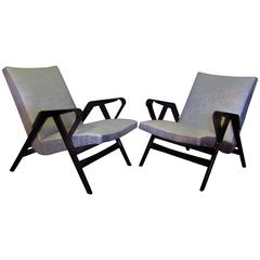 Midcentury Pair of Bent-Ply Armchairs by Tatra Nabytok, Czech, 1950s